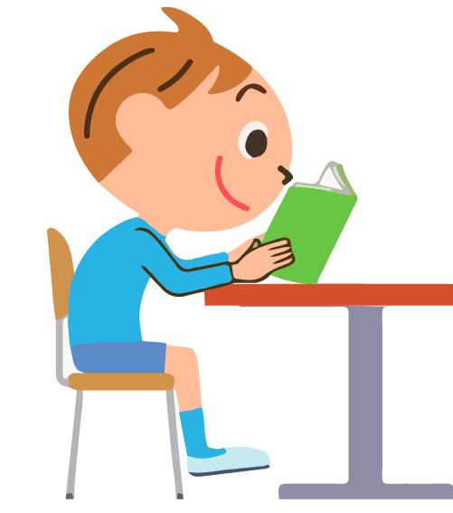 Школьник сутулится за столом