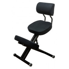 KM01BМ Black без чехла. Металлический коленный стул (со спинкой)