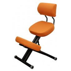 KM01BМ Black с чехлом. Металлический коленный стул со спинкой