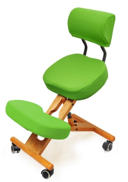 Ортопедический коленный стул для школьника деревянный со спинкой